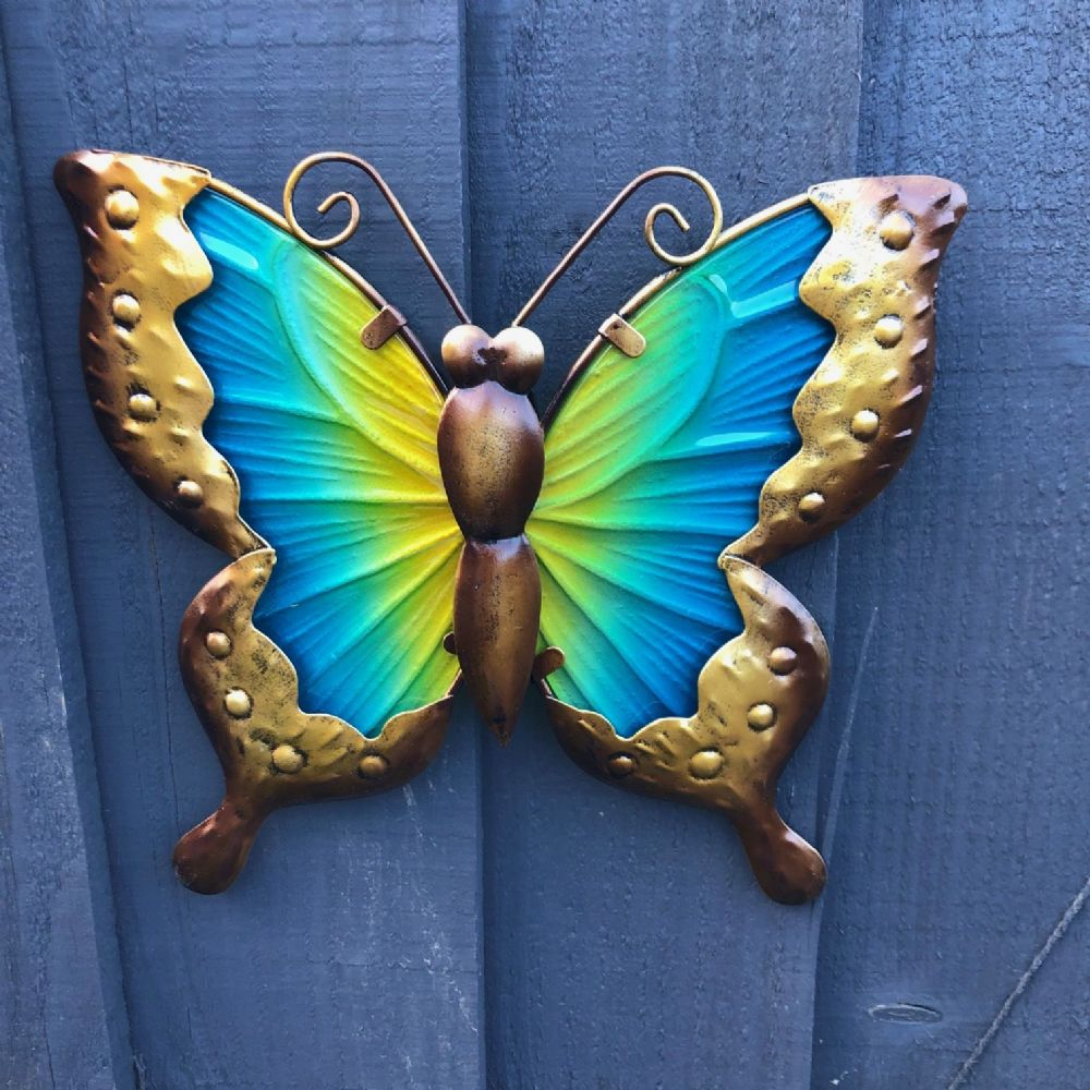 Blue & Yellow  Butterfly  Colourful Hand Painted Glass & Metal Garden Wall Art